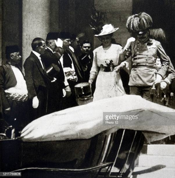 Photograph of Archduke Franz Ferdinand of Austria and his wife Sophie, Duchess of Hohenberg leaving the Sarajevo Senate, five minutes before he they...