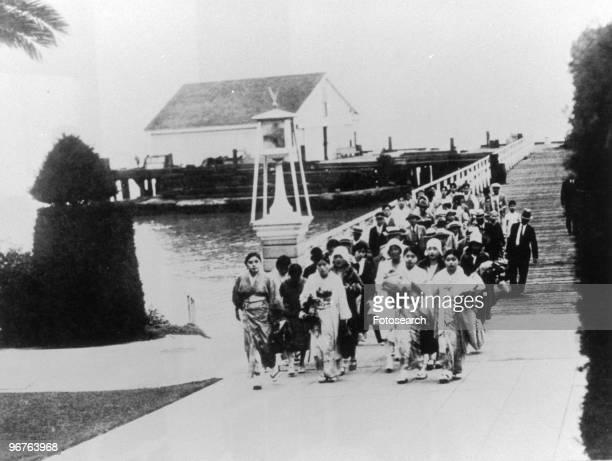 A Photograph of Asian Immigrants arriving at the Quarantine Station at Angel Island San Francisco Bay circa 1911