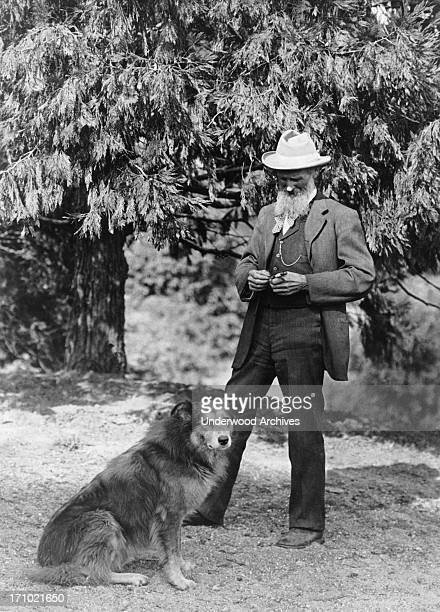 A photograph of author and naturalist John Muir and his dog California California 1900