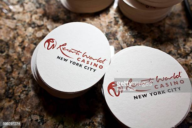 A photograph of bar coasters inside of Genting's new Resorts World New York casino at Aqueduct Race Track in Jamaica section of Queens in New York on...