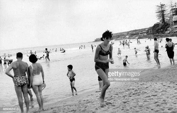 A photograph of beachgoers on Coogee Beach Sydney Australia 1980