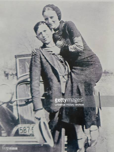 Photograph of Bonnie and Clyde. Bonnie Elizabeth Parker and Clyde Chestnut Barrow American criminals who travelled around the Central United States...