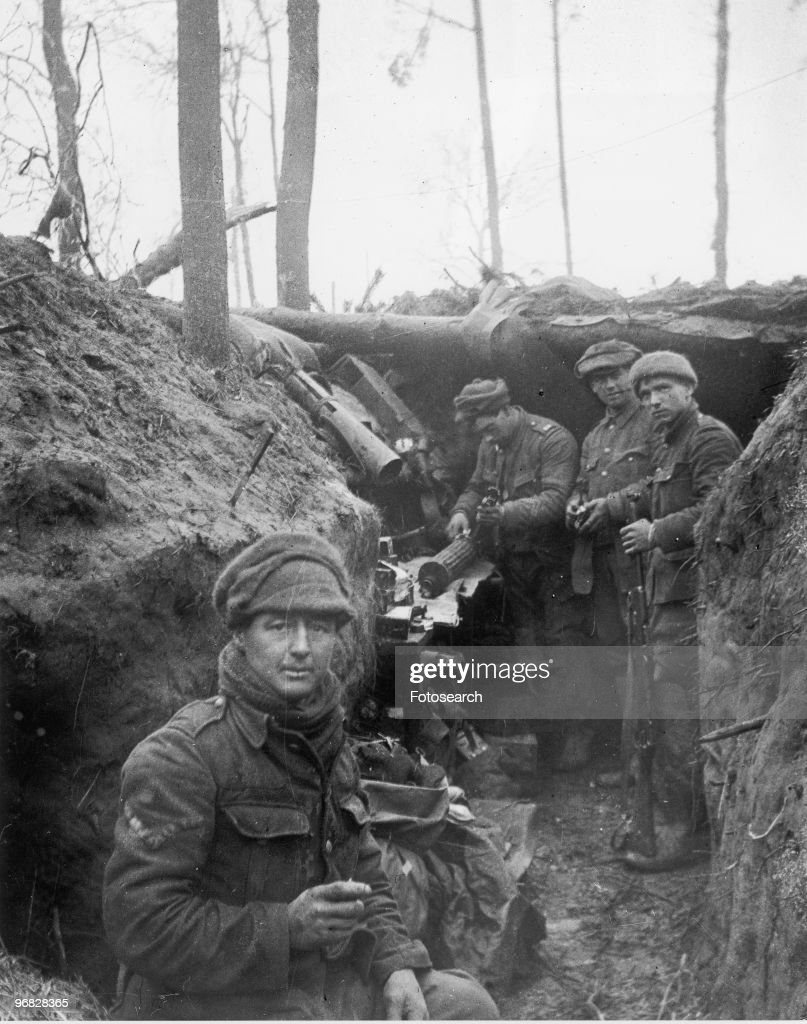 A Photograph of British Soldiers in the Trenches during the Battle of Ypres in Belgium circa 1917.