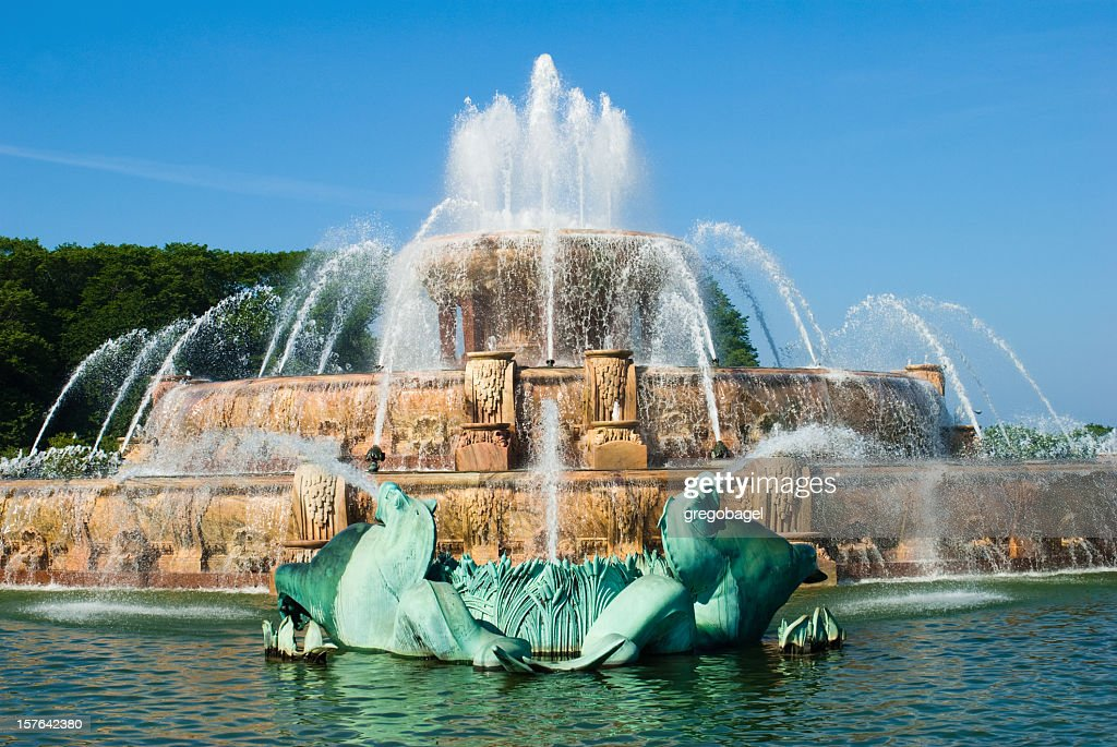 Photograph of Buckingham Fountain in Chicago's Grant Park : Stock Photo