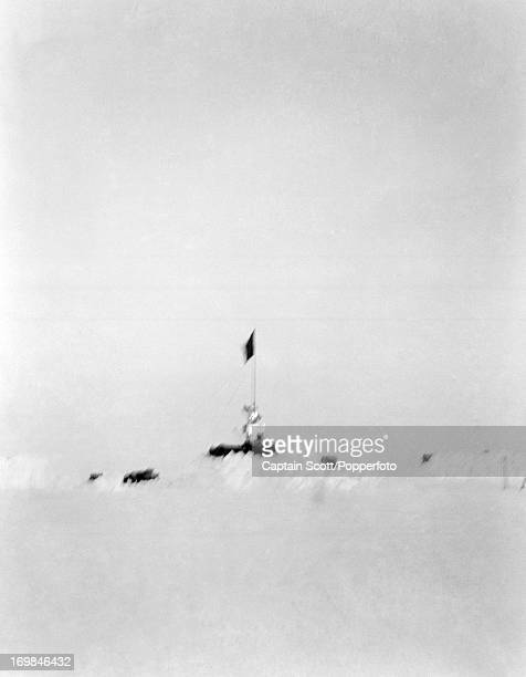 A photograph of Camp 12 One Ton Depot on the Great Ice Barrier taken during the last tragic voyage to Antarctica by Captain Robert Falcon Scott on...