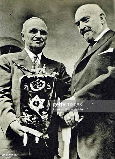 Photograph of Chaim Weizmann a Zionist leader Israeli statesman and First President of Israel with President Harry S Truman 33rd President of the...