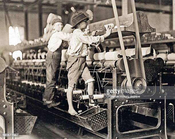 Photograph of child laborers in Cherryville Mfg Co Photographed by Lewis Hine