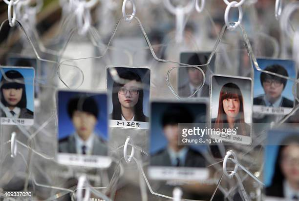 A photograph of Cho EunHwa student of Danwon High School who went missing in the Sewol ferry hang on in front of memorial altar on April 11 2015 in...