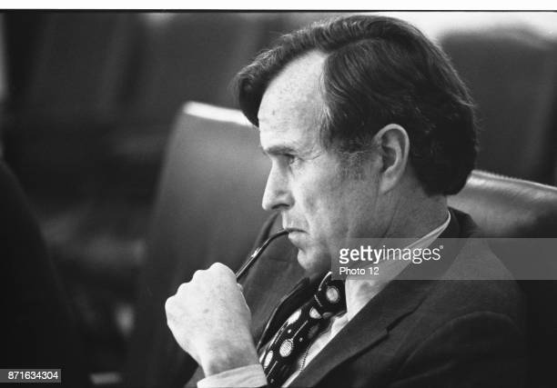 Photograph of CIA Director George H W Bush in a meeting following assassination in Beirut Dated 1976