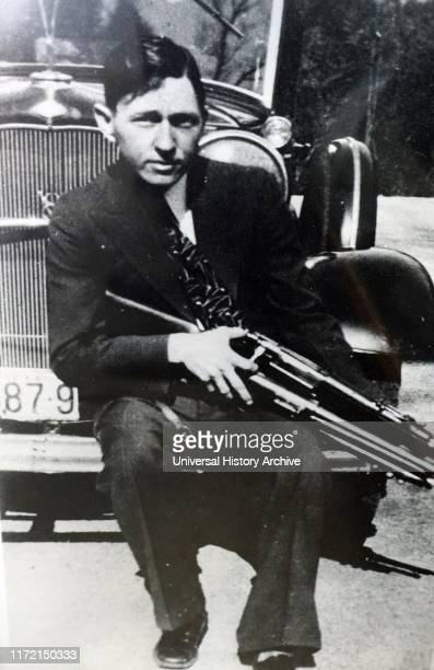 Photograph of Clyde Barrow. Clyde Chestnut Barrow an American criminal who travelled around the Central United States with Bonnie Parker and their...