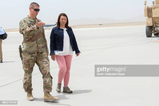 Photograph of Colonel Dave Zinn with Alabama congresswoman Martha Roby during a visit to Kandahar Airfield Afghanistan May 14 2018