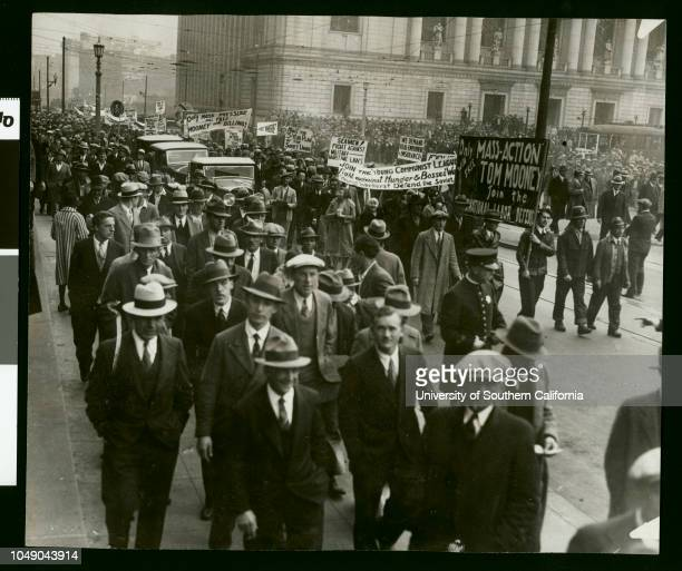 Photograph of communist parade and gathering in front of the state building where the Mooney hearing is taking place 'Received Examiner reference...