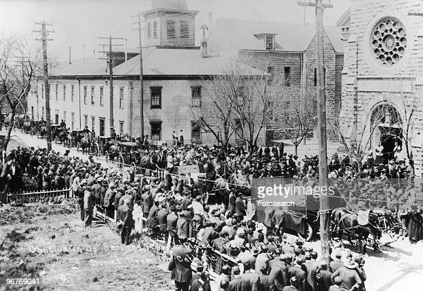 A Photograph of Conclusion of Memorial Service of the Ludlow Massacre with Coffins being Placed on Wagons Trinidad Colorado Circa April 1914