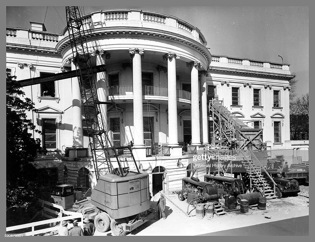 Construction equipment outside the White House during major renovation. : News Photo