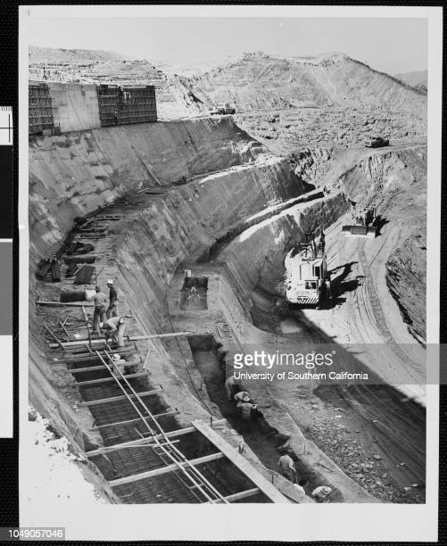 Photograph of construction of the New Dodgers Stadium in Chavez Ravine, Los Angeles. 'Associated Press photo / From Los Angeles / Caution: use credit...