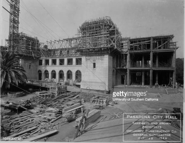 Photograph of construction of the north wing of the Pasadena City Hall 'Calif Pasadena City Hall 111426' handwritten note on verso 'North wing'...