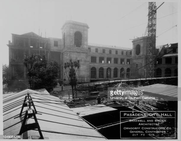 Photograph of construction of the south wing of the Pasadena City Hall 'Calif Pasadena South wing' handwritten note on versoStreetscape Horizontal...