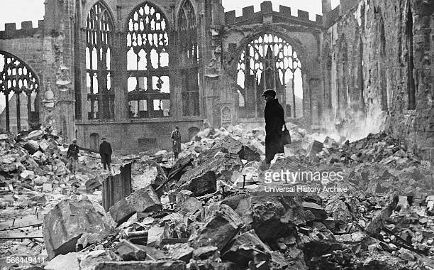 Photograph of Coventry Cathedral in the wake of an Air Raid. Dated 1940.