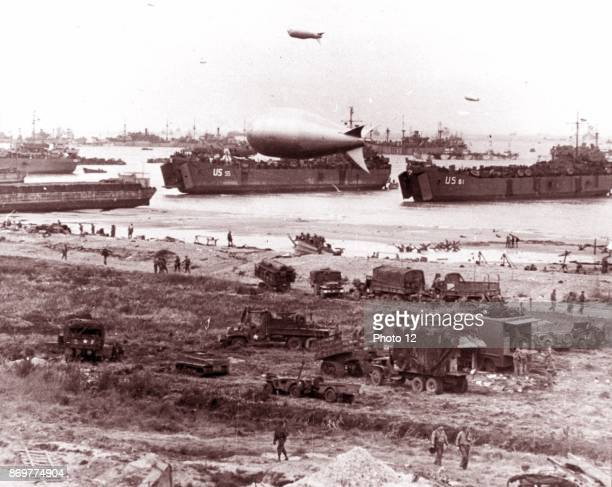Photograph of DDay landing vehicles vessels used to convey a landing force from the sea to the shore during an amphibious assault Dated 1944