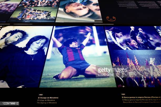 Photograph of Diego Maradona is exhibited at the FC Barcelona Museum, in Barcelona on November 26 a day after the death of the Argentinian football...