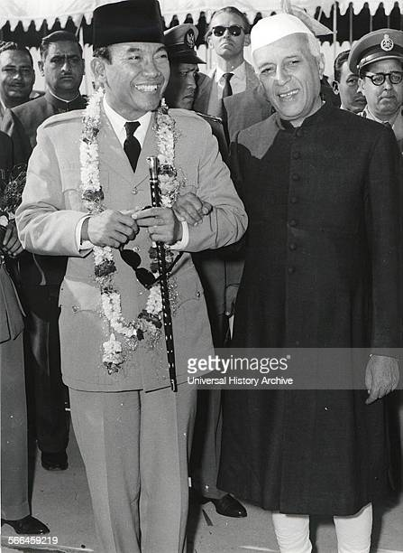 Photograph of Dr Ahmed Sukarno The first President of Indonesia with Pandit Nehru Prime Minister of India at the NonAligned Conference Dated 1955