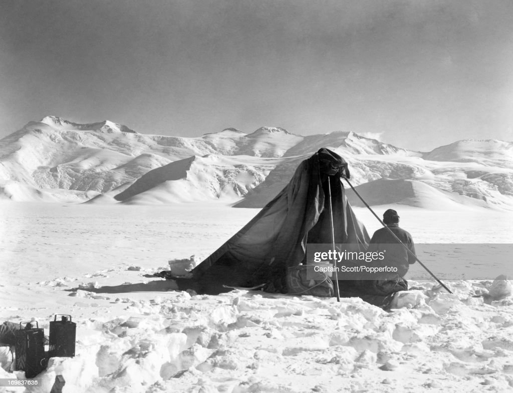 A photograph of Dr Edward Wilson sketching at the Beardmore Glacier taken during the last, tragic voyage to Antarctica by Captain Robert Falcon Scott on 13th December 1911. Scott was tutored by Herbert Ponting, the renowned photographer who was the camera artist to the expedition, which enabled Scott to take his own memorable pictures before perishing on his return from the South Pole on or after 29th March 1912.