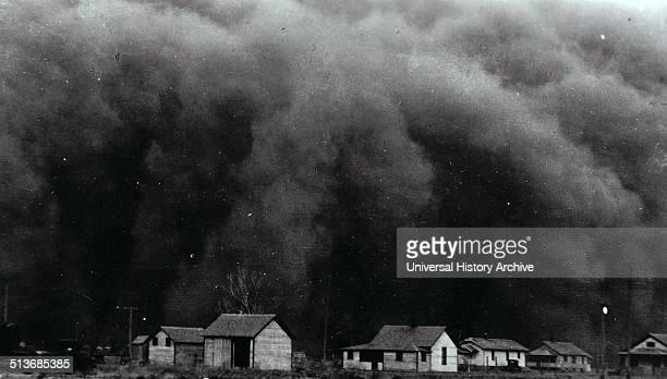 Photograph of dust clouds covering the Prairies during the Great Depressions of America Dated 1935