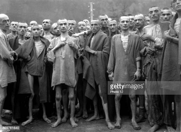 Photograph of Ebensee concentration camp prisoners Established by the SS to build tunnels for armaments storage near the town of Ebensee Austria in...