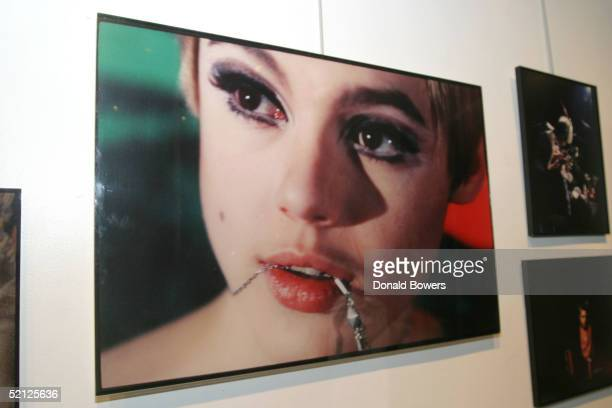 A photograph of Edie Sedwick is displayed at the Edie Sedgwick Exhibit opening party at Gallagher's Art Fashion Gallery on February 2 2005 in New...