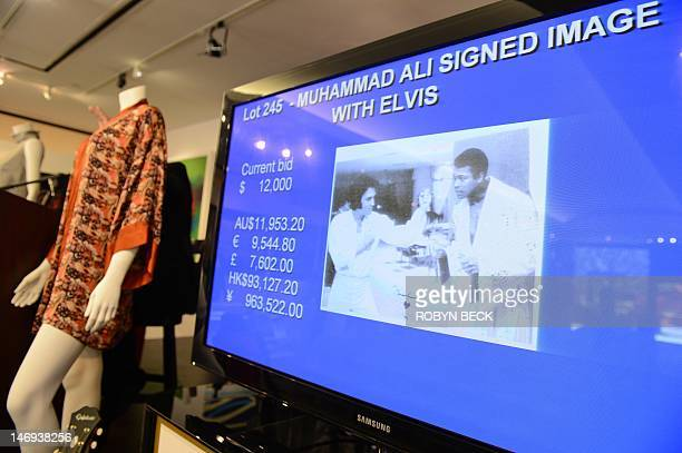 A 1973 photograph of Elvis Presley and Muhammad Ali and signed by Ali is on display at Julien's Auctions in Beverly Hills California on the first day...