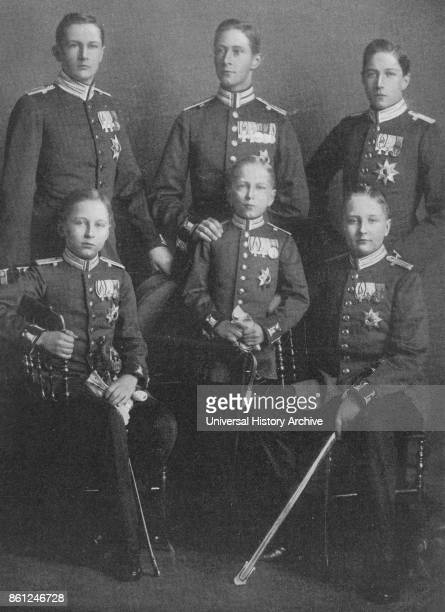 Photograph of Emperor Wilhelm II's sons back row Prince Eitel Friedrich of Prussia Wilhelm German Crown Prince Prince Adalbert of Prussia front row...