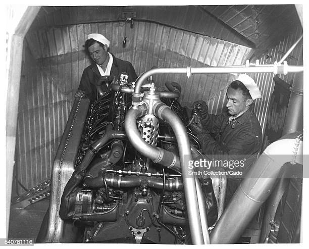 Photograph of engine room in a dirigible 1933 Image courtesy National Archives