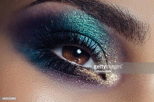 photograph of eye with professional make up - eye make up stock photos and pictures