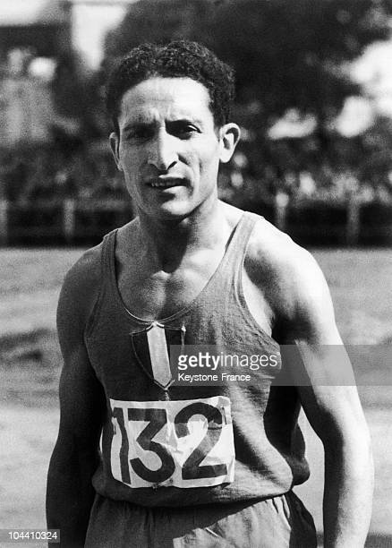 A 1947 photograph of French runner Alain MIMOUN at the Jean BOUIN stadium