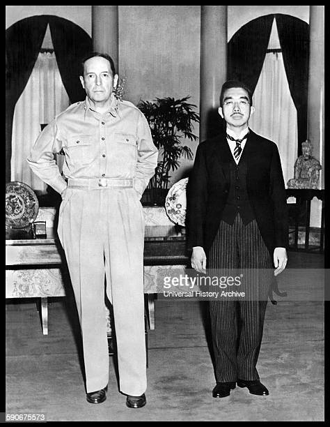 Photograph of General Douglas MacArthur and Emperor Hirohito of Japan Dated 1945