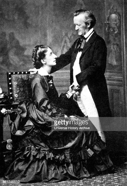 Photograph of German composer Wilhelm Wagner and his second wife Cosima Wagner whom together founded the Bayreuth Festival Dated 19th Century