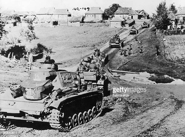 A Photograph of German Tanks Advancing towards a Soviet Village during Operation Barbarossa October 29th 1941