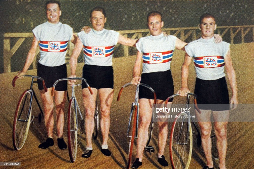 Great Britain's pursuit team at the 1932 Olympic games. : Nieuwsfoto's