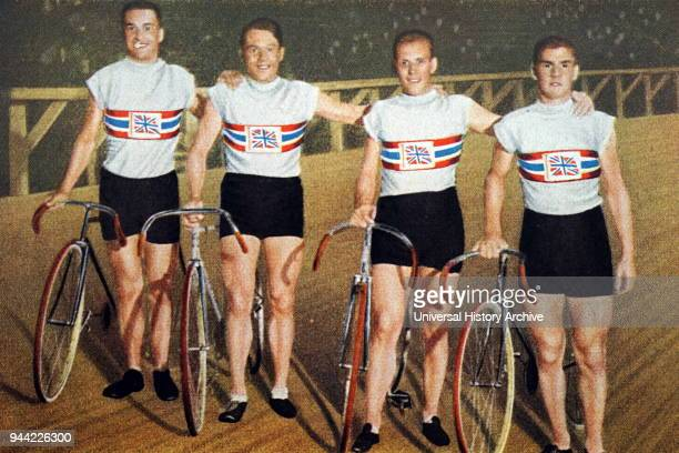 Photograph of Great Britain's pursuit team at the 1932 Olympic games. Charles Holland , William Frank Southall , William Gladstone Harvell and Ernest...