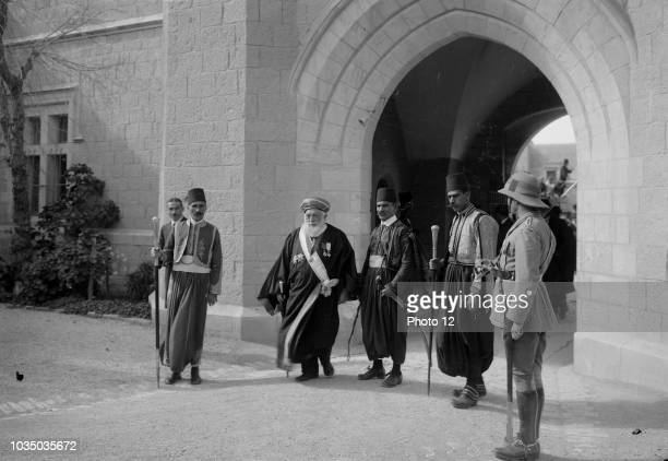 Photograph of Jacob Meir a Sephardic chief rabbi under the British Mandate leaving the Government House following a meeting with the High...