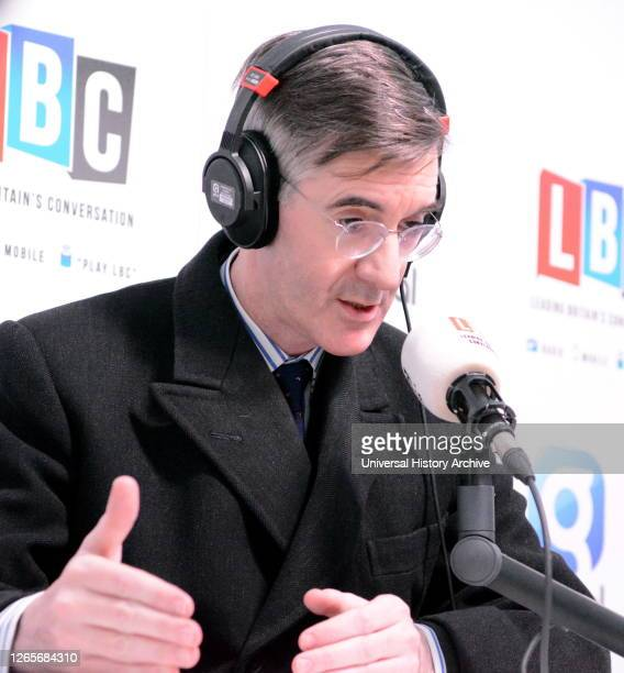 Photograph of Jacob Rees-Mogg speaking on LBC radio. Jacob William Rees-Mogg a British politician serving as Leader of the House of Commons and Lord...