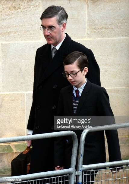 Photograph of Jacob Rees-Mogg with his, arriving for the state opening of Parliament. Jacob William Rees-Mogg a British politician serving as Leader...
