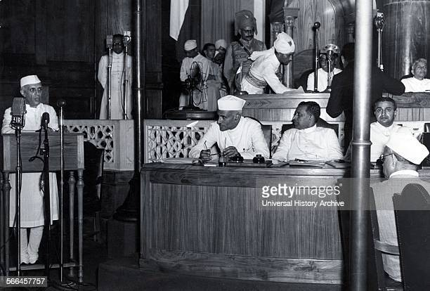 Photograph of Jawaharlal Nehru first Prime Minister of India declaring Indian Independence in the Constituent Assembly Delhi Dated 1947