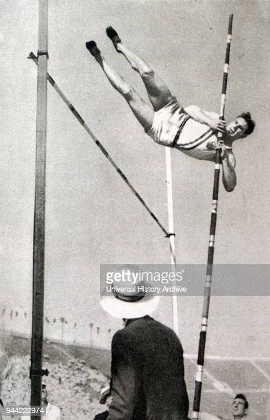 Photograph of Jim Bausch for the USA pole vaulting in the Decathlon during the 1932 Olympic games Jim took gold in the Decathlon