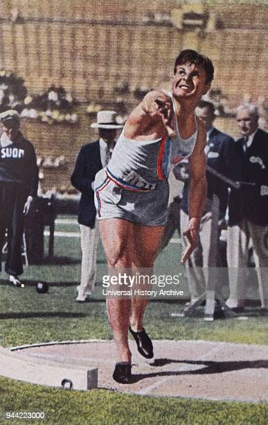 Photograph of Jim Bausch for the USA shot putting in the Decathlon during the 1932 Olympic games Jim took gold in the Decathlon