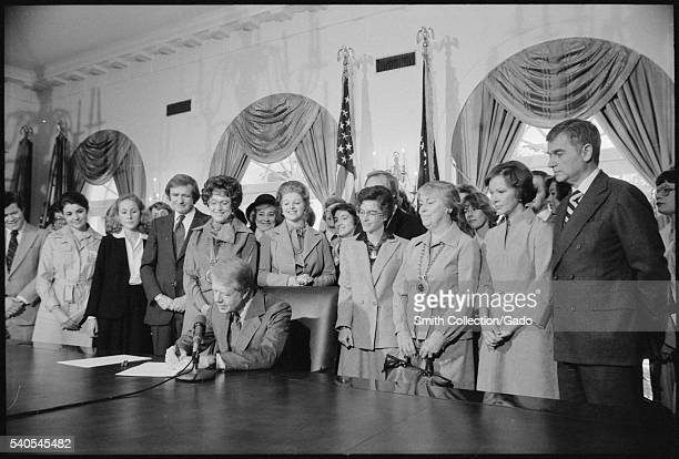 Photograph of Jimmy Carter Signing Extension of Equal Rights Amendment Ratification 1978 Image courtesy National Archives