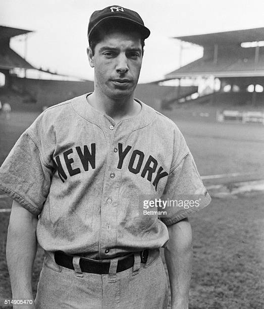 Photograph of Joe DiMaggio, who will be playing center field for the New York Yankees in the coming World Series.