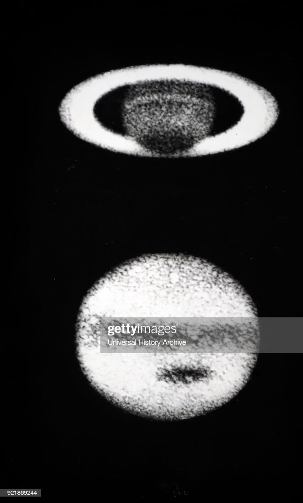 Photograph of Jupiter (top) and Saturn (bottom), taken by Andrew Ainslie Common. Andrew Ainslie Common (1841-1903) an English amateur astronomer best known for his pioneering work in astrophotography. Dated 19th century.