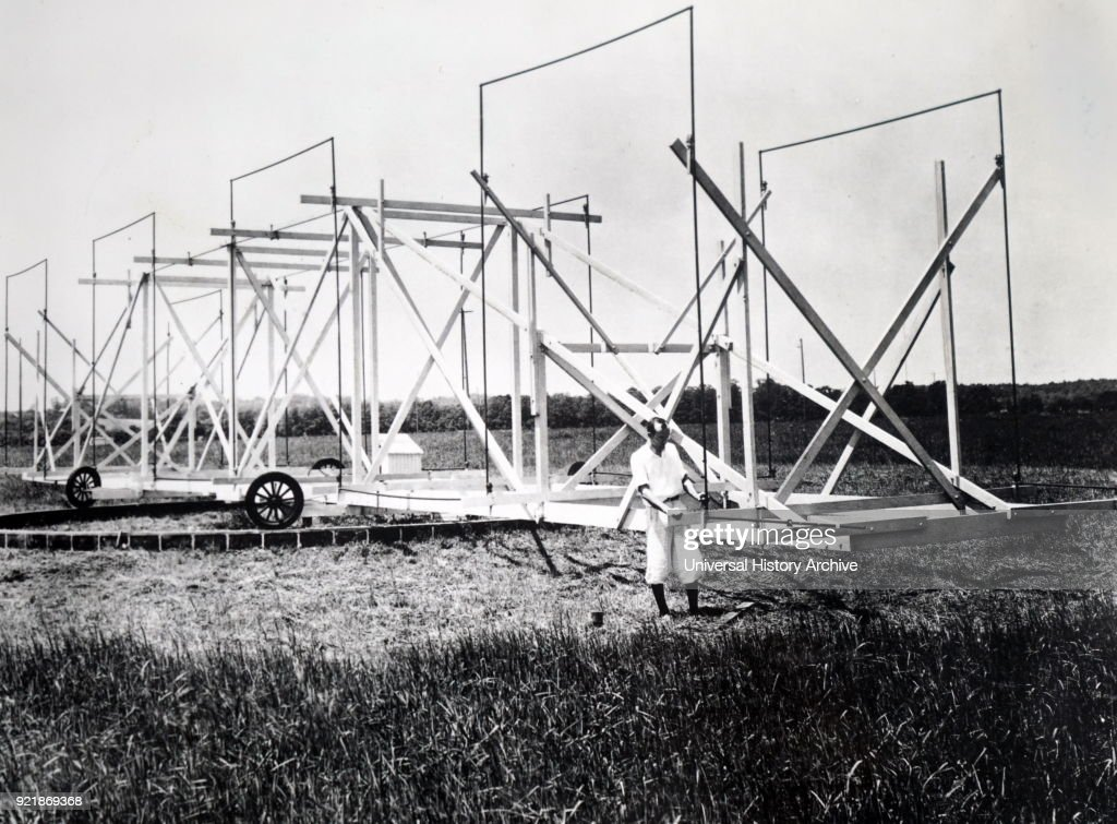 Photograph of Karl Jansky and his directorial radio aerial system. Karl Guthe Jansky (1905-1950) an American physicist and radio engineer who discovered radio waves emanating from the Milky Way. Dated 20th century.