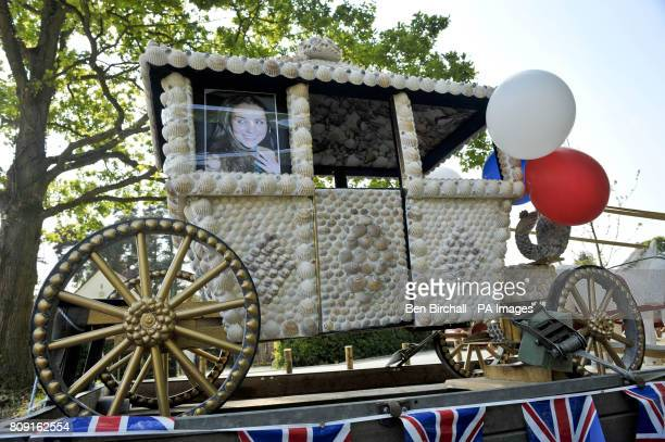 A photograph of Kate Middleton looking out of a miniature horsedrawn carriage created by Les Pocklington from Long Lane Newbury